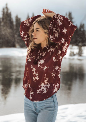 Boho Sheer Floral Long Sleeve Top