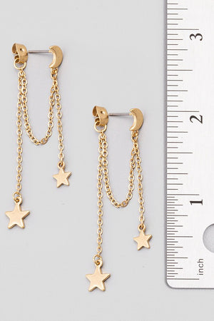 Dainty Chain Link Star Dangle Earrings