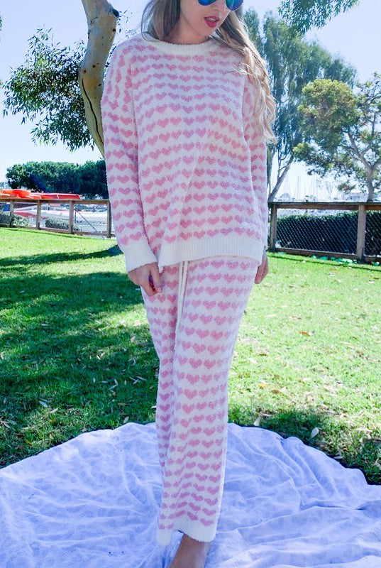 Heart Print Fuzzy Loungewear Pants