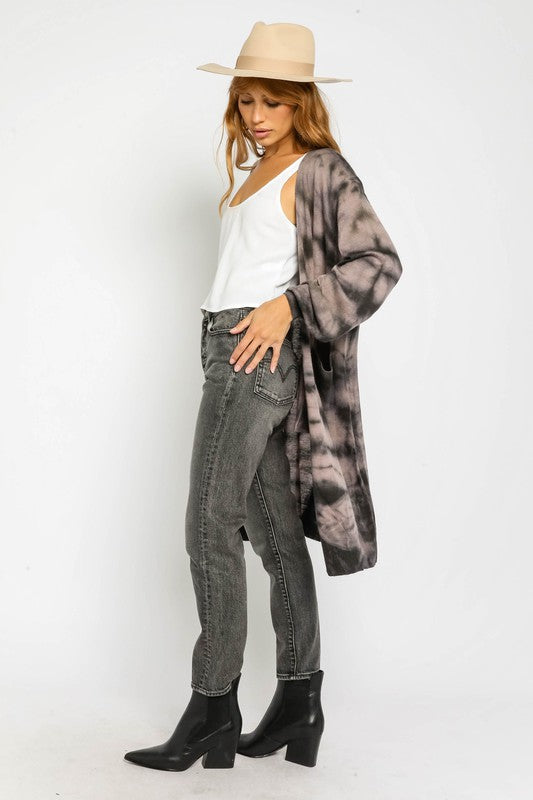 Brown Tie Dye Open Cardigan
