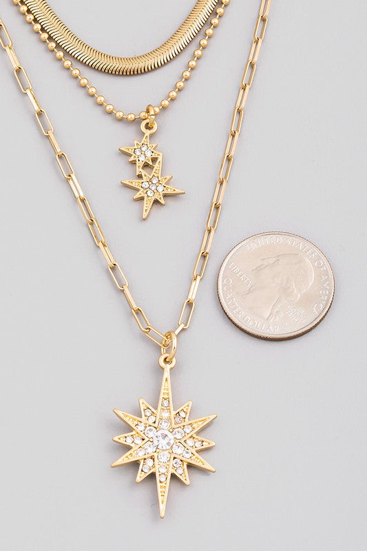 Layered Chain North Star Pendant Necklace