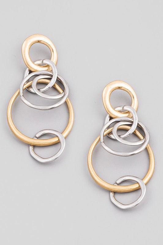 Two Tone Circle Link Post Earrings
