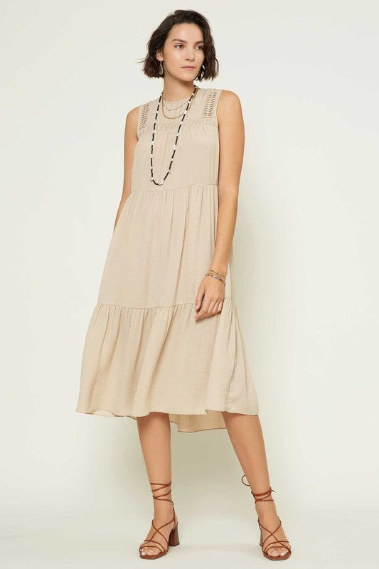 PRE-ORDER - A LINE MIDI SLEEVELESS TIERED DRESS