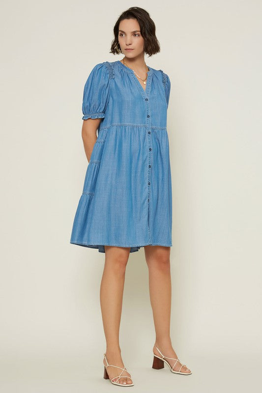 V NECK BUTTON UP DRESS WITH TIERED BACK SKIRT
