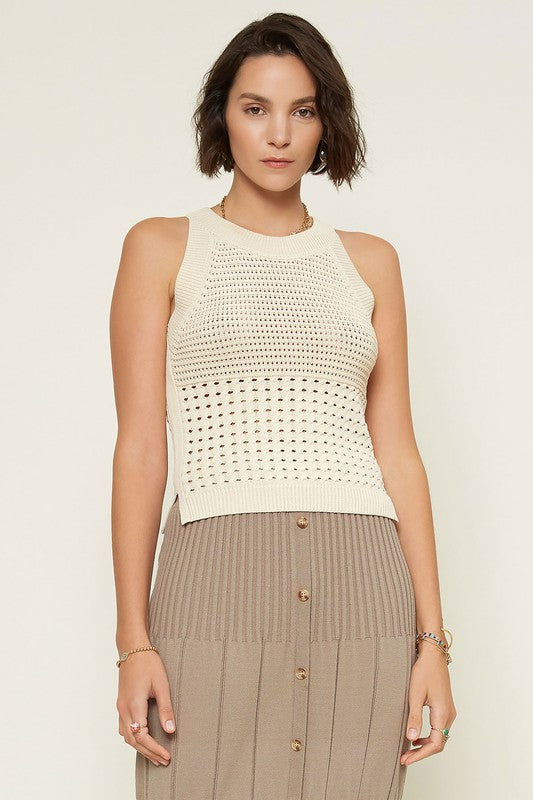 Cream Halter Neck Sweater Knit Top