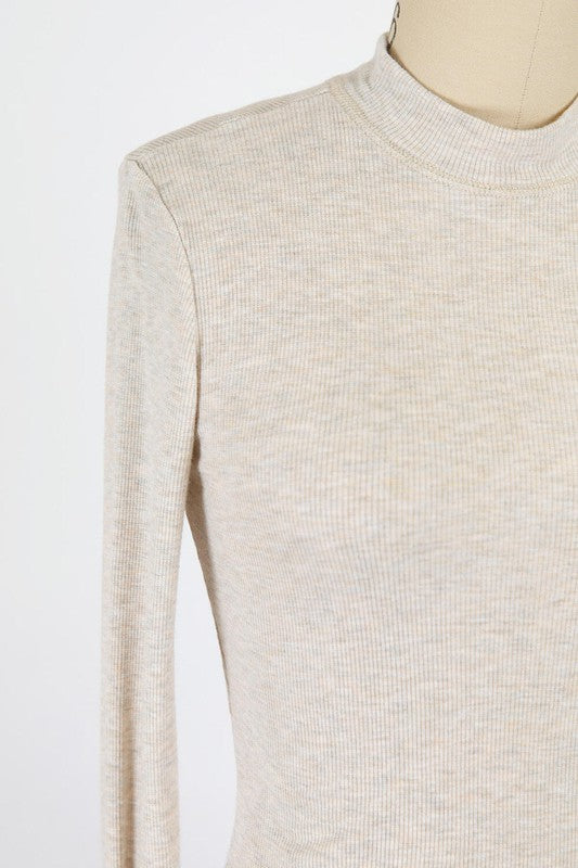 OATMEAL WASHED RAYON BABYRIB JERSEY MOCK NECK TOP
