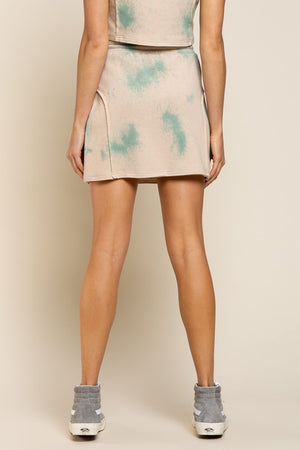 Effortlessly sporty hand dip tie-dye mini skirt