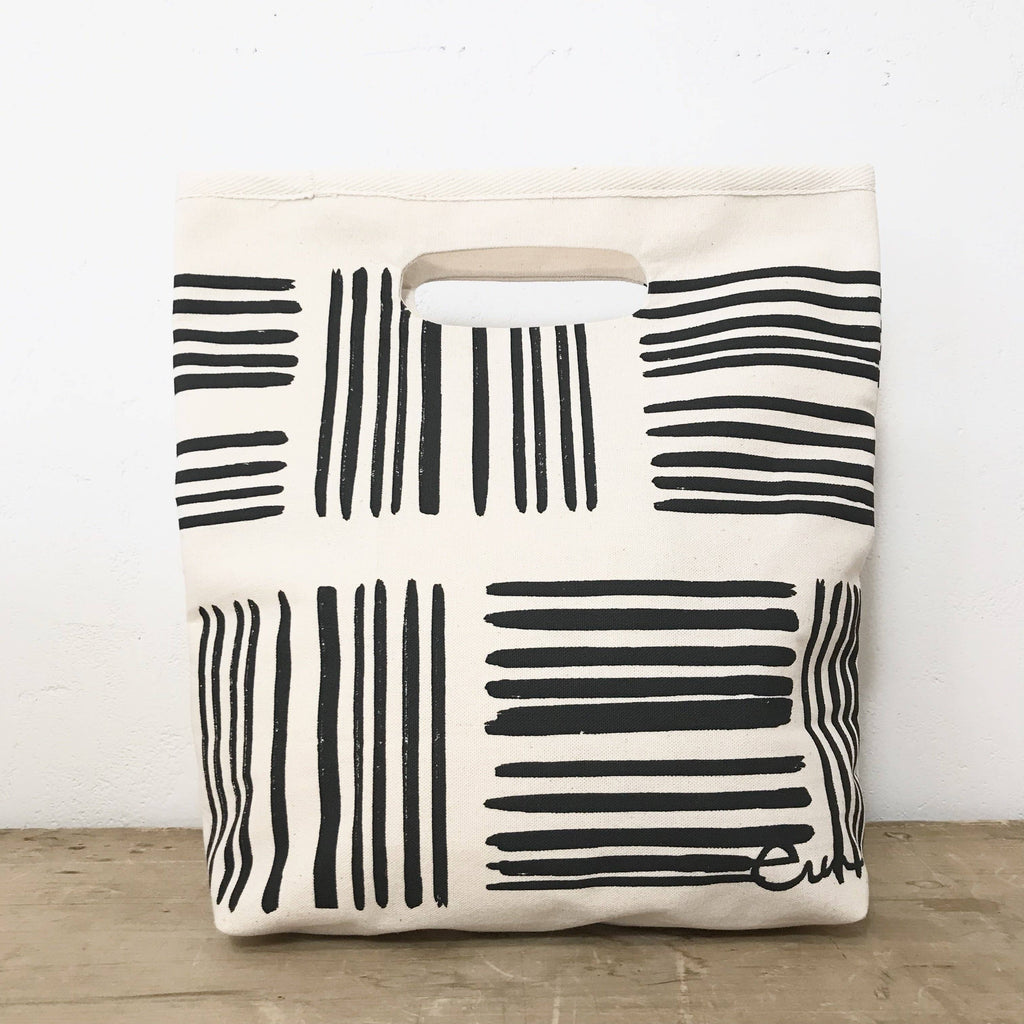 Worn Black Brush Lunch Bag
