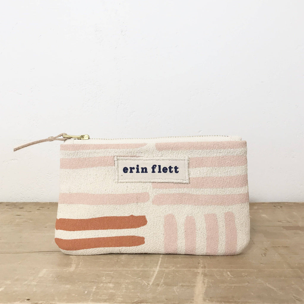 Dusty Pink Grid Card Wallet Zipper Bag