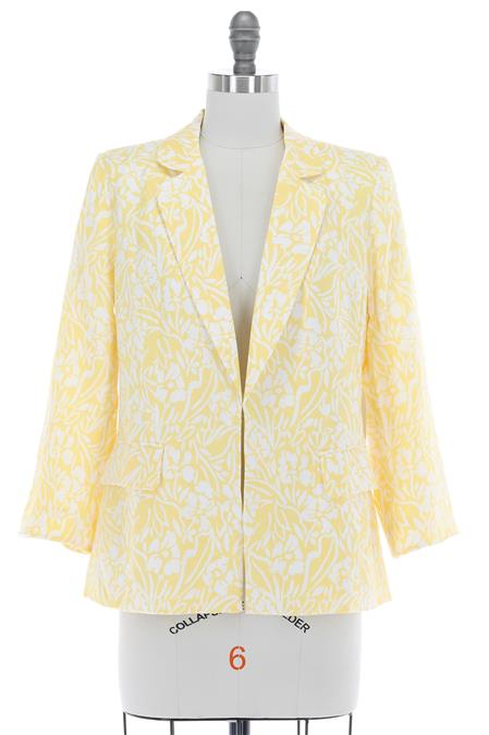 Final Sale - White With Yellow Flower Detail Jacket
