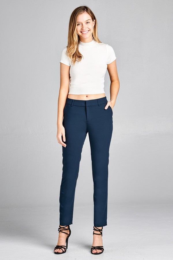 Navy Cigarette Style Slacks - nicole taylor boutique - Lancaster pa womens clothing store