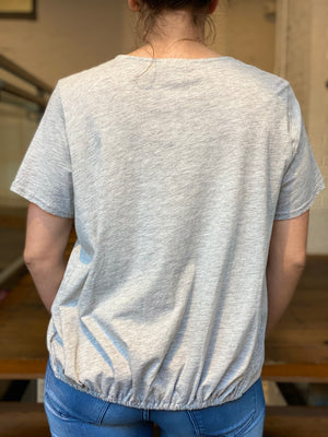 Cinched Waist Heather Gray Tee