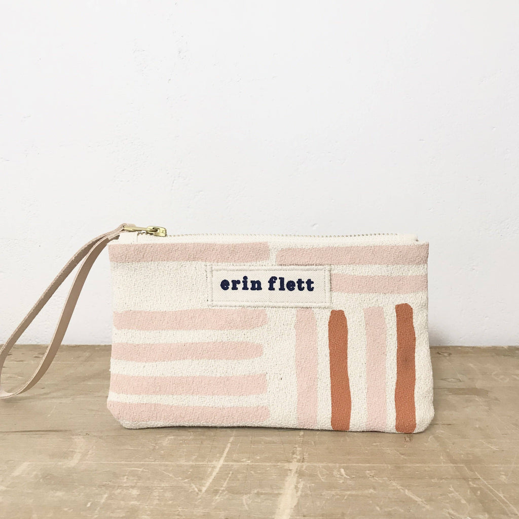 Dusty Pink Grid Wristlet Zipper Bag