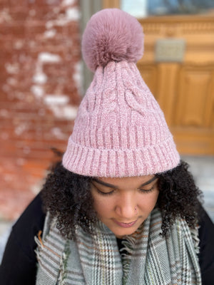 Pink Chanelle Cable Knit Pom