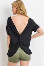 Short Sleeve Black Open Back Tee