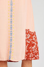 Midi Soft Coral Embroidered Dress.