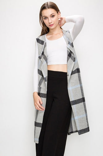 Plaid Long Vest With Back Split Detail