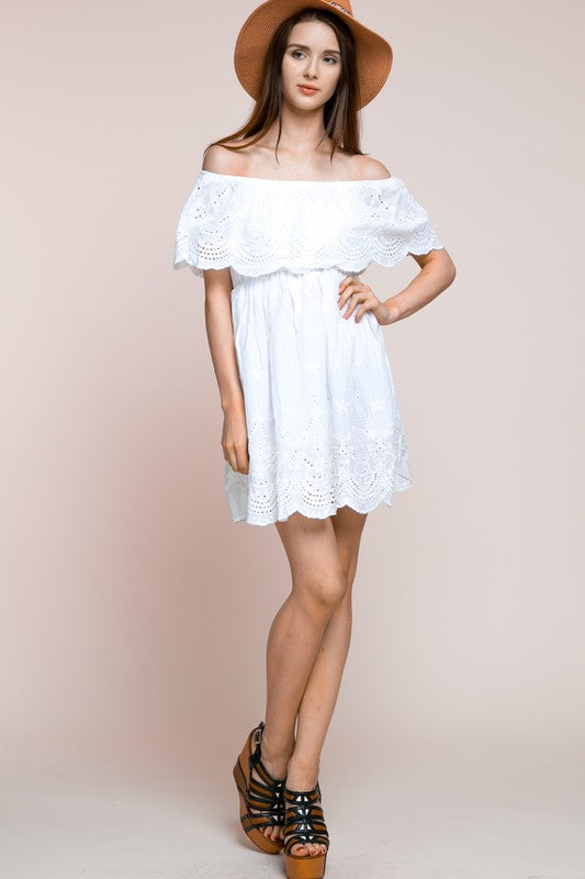 Scalloped White Dress