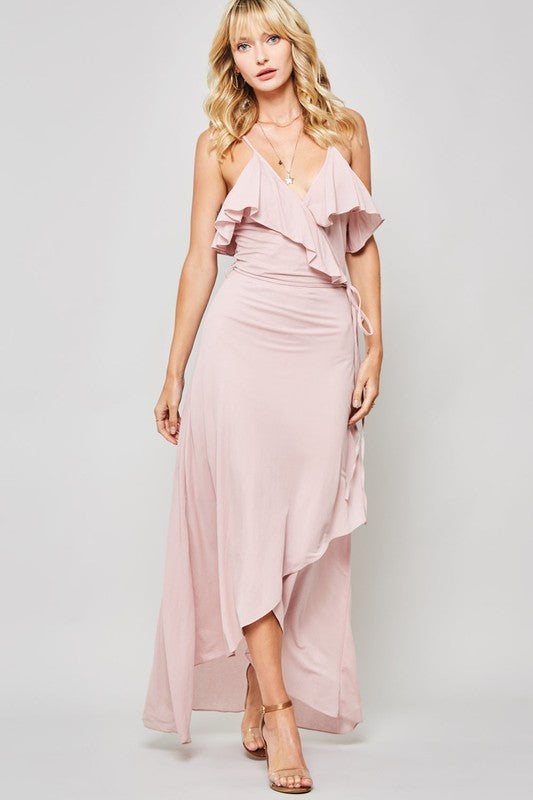 Cami-Straps Low-Back Ruffled Woven Maxi Dress