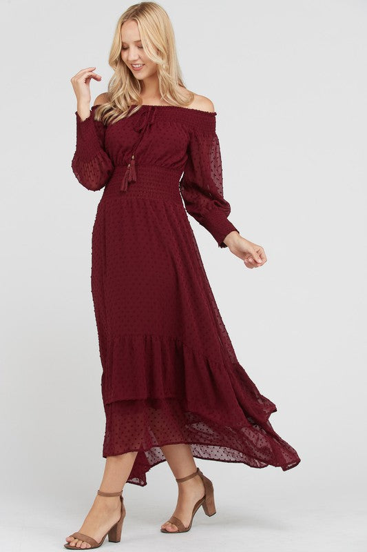 Wine Off The Shoulder Maxi Dress - Nicole Taylor Boutique, Lancaster trendy womens clothing boutique, the 300 block of north queen st