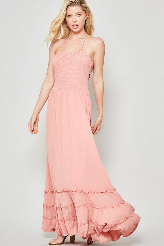 Ruffled Halter Maxi Dress with Smocked Bodice