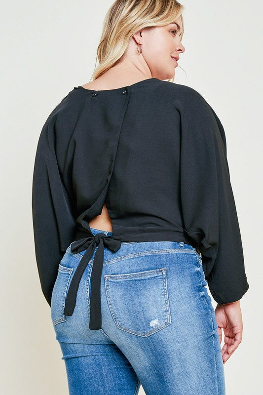 Pre Order - Curvy Girl - Bat Wing Crop Top with Back Bow Detail