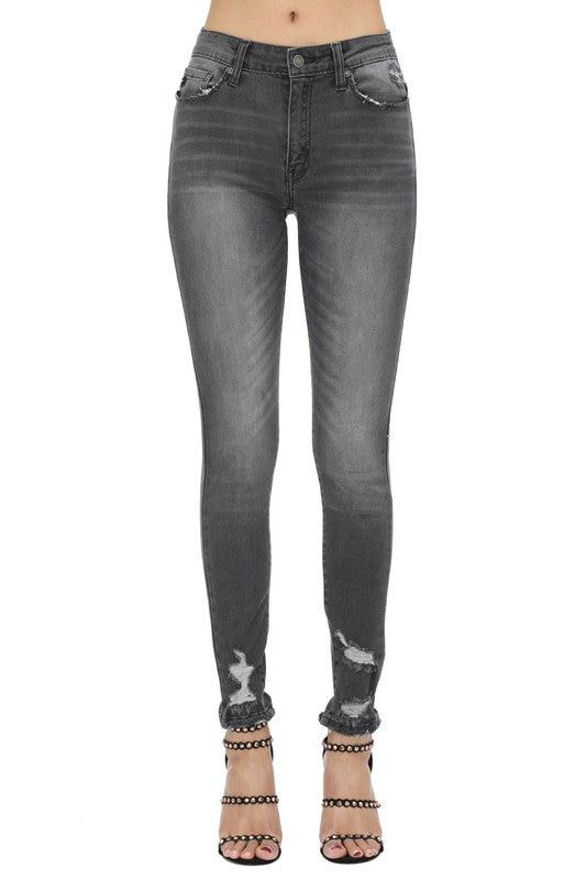 Charcoal Distress High Rise Jeans
