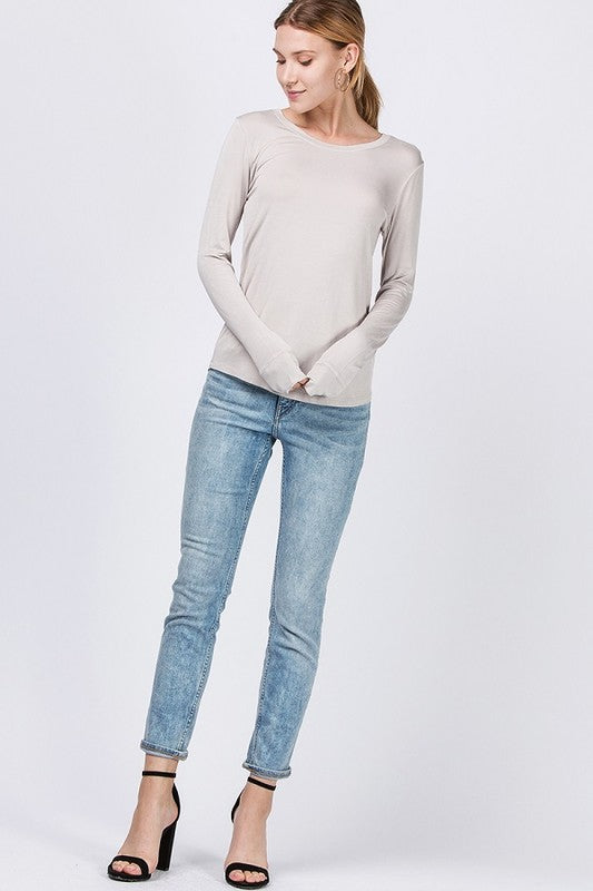 Boat Neck Drop Long Sleeve Curved Hem Top
