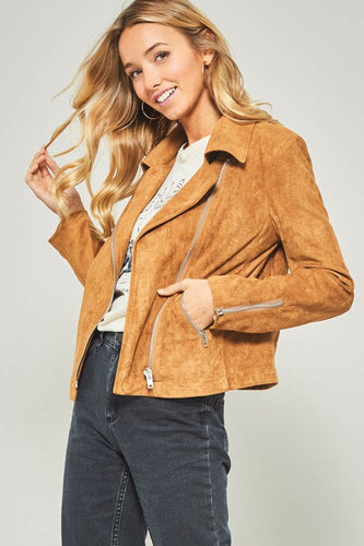 Camel Suede zip-up jacket with pocket