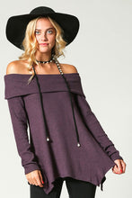 Ribbed Purple Off The Shoulder Sweater