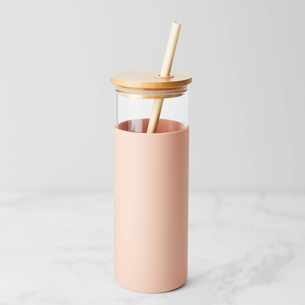Glass and Bamboo Water Bottle with Straw