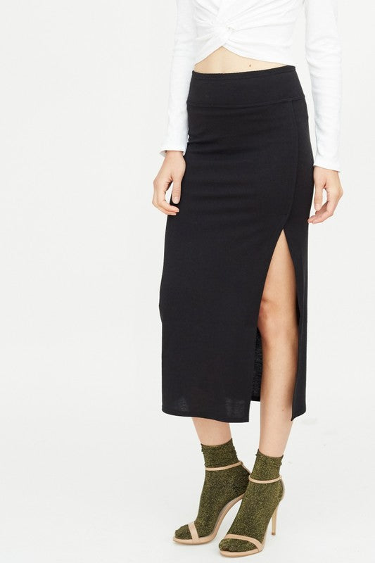 Midi High Split Skirt
