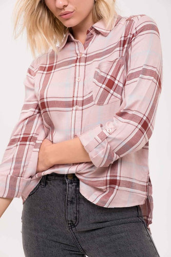 Maroon Plaid Button-Down Shirt
