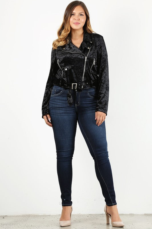 Curvy Girl - Crush Velvet Motto Jacket