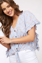 Flower Print Button-Down Ruffle Top