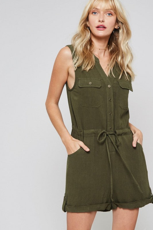 SLEEVELESS LINEN ROMPER WITH BUTTON DOWN FRONT