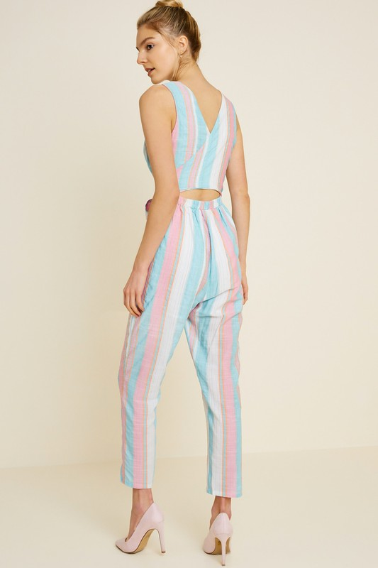 Tie-Front Stripe Trouser Jumpsuit