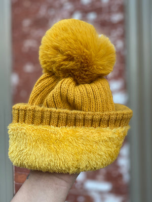 Canary Beanie with Pom Pom Pearl Detail