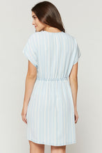 Light Blue Front Tie Tencel Dress