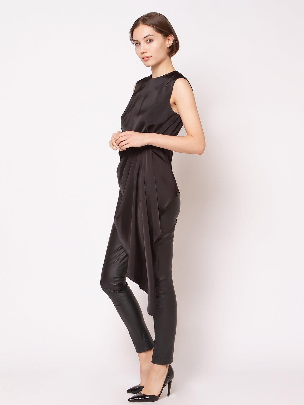 Satin Sleeveless Front Unbalance Top