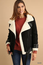 White and Black Faux Suede Sherpa Coat