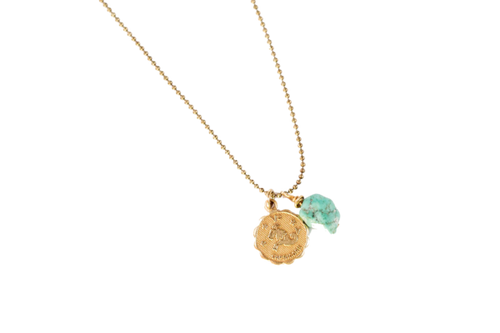 Zodiac Necklace With Turquoise Stone