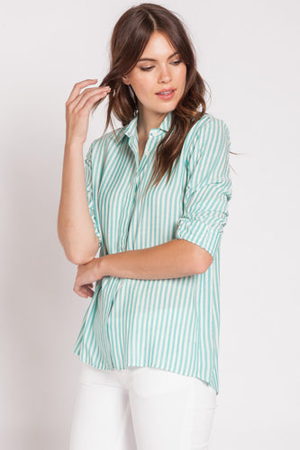Green and White Button Up Blouse - Nicoletaylorboutique