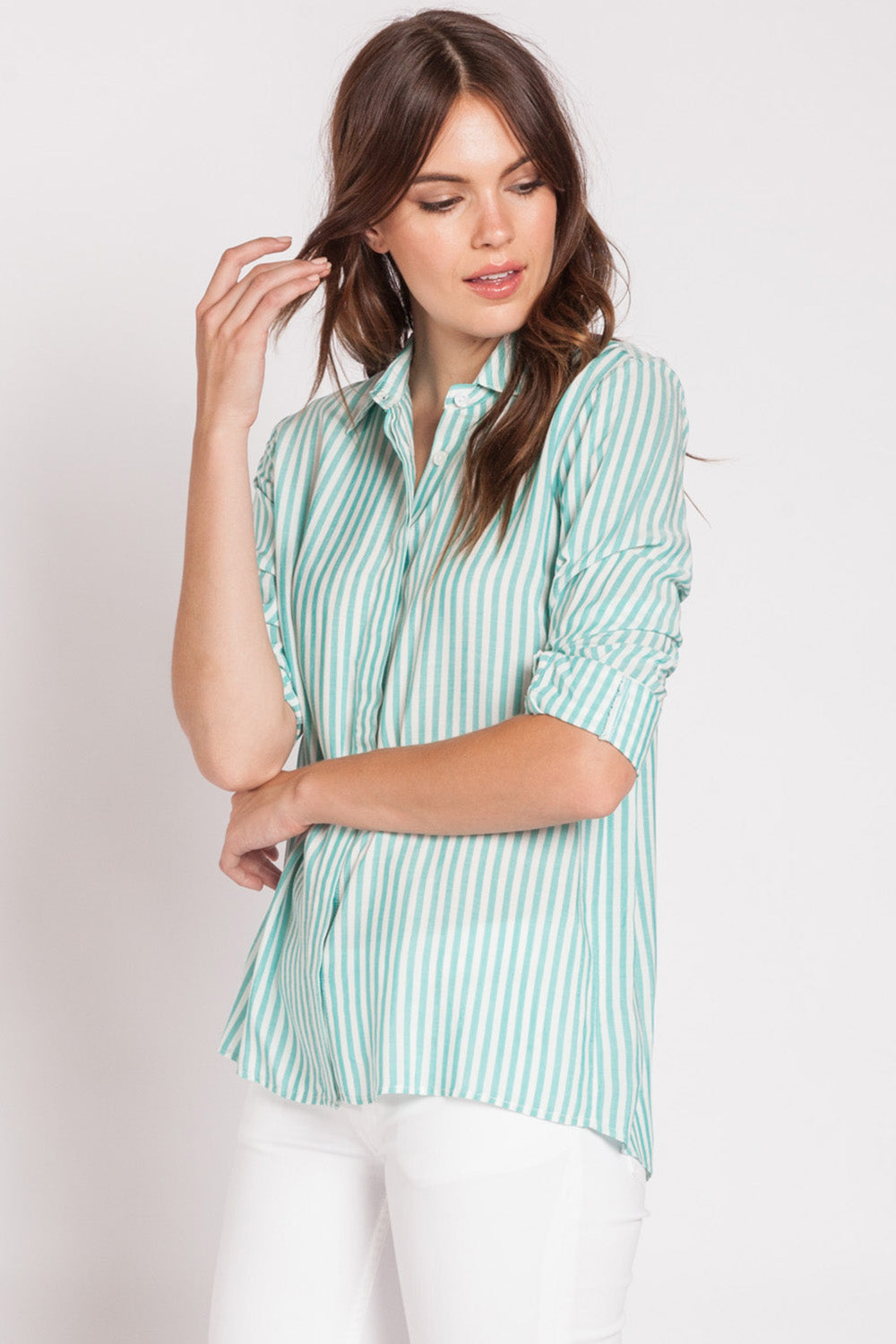 Green and White Button Up Blouse
