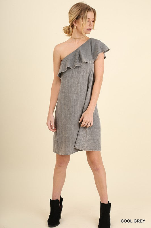 Gray One Shoulder Dress