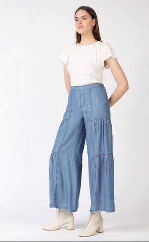 Tiered Wide Leg Chambray Pants