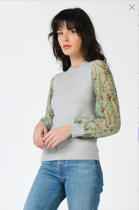 Mint Floral Sleeve Sweater