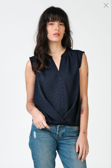 Overlap Hem Polka Dot Sleeveless Top