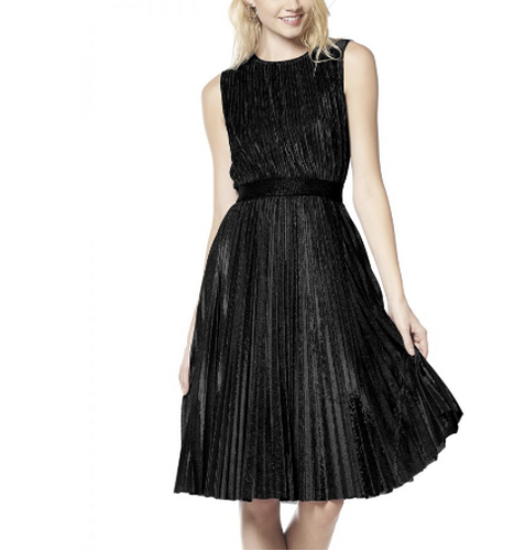 Pleated Black Party Dress