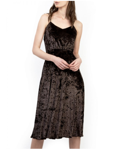Brown Crushed Velvet Party Dress